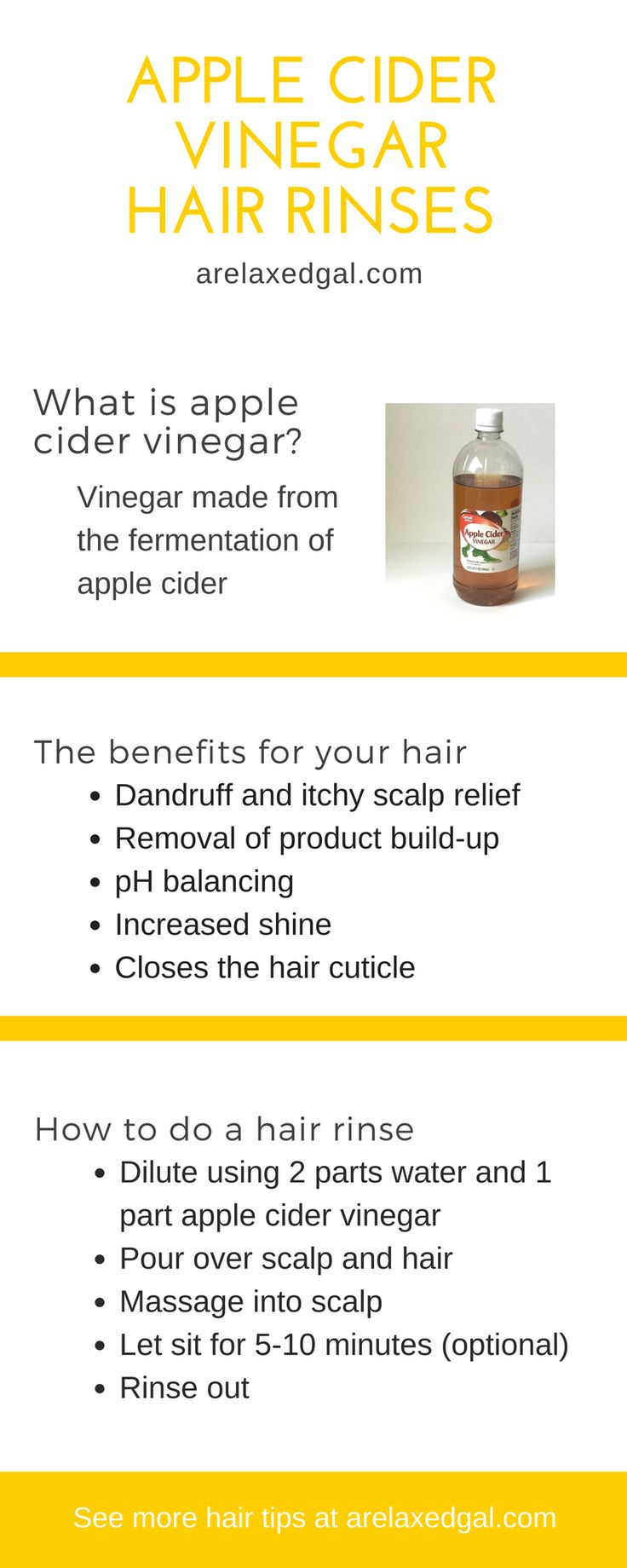 Why I Rinse My Hair with Apple Cider Vinegar | Apple Cider Vinegar is a natural hair remedy and product that has many benefits for your natural or relaxed hair. ~ arelaxedgal.com