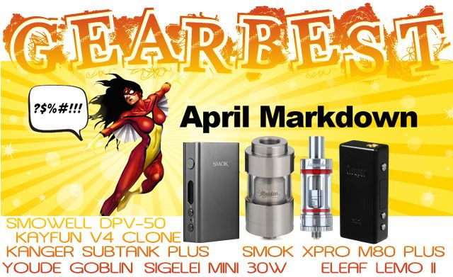 Démarque GearBest d'Avril ! Les amateurs de cigarette électronique y trouveront leur compte avec un large choix de Mods & atomiseurs à prix discount.