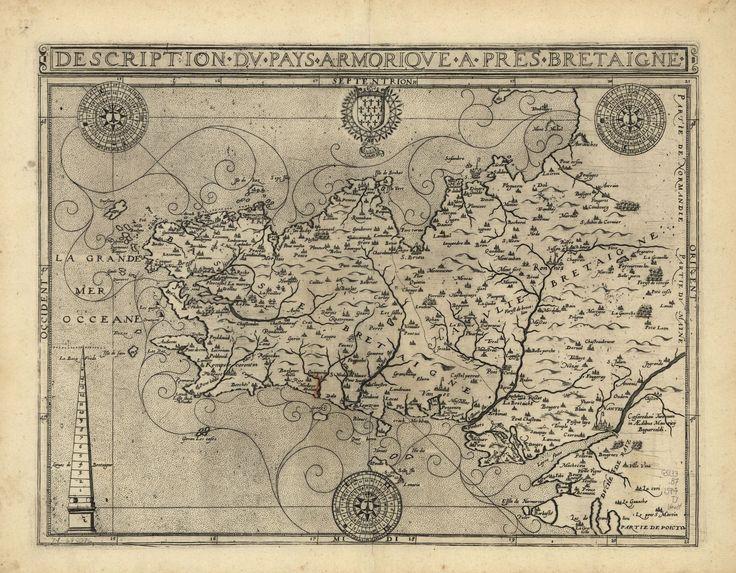 Description du pays armorique à pres Bretaigne. Map of Brittany, France, 1594
