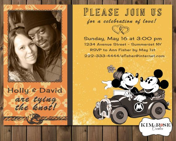 Retro ENGAGEMENT ANNOUNCEMENT Invitation - party - Mickey Mouse  - Minnie Mouse - Digital Printable