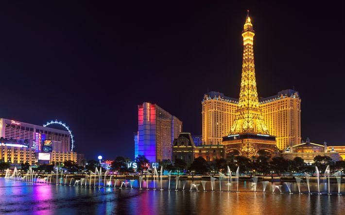 Download wallpapers Las Vegas, 4k, Bellagio, Nevada, casino, fountain, Eiffel Tower, USA, Las Vegas Strip