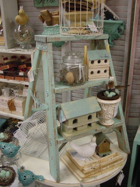 Old Green Painted Ladder...with bird houses & Easter needfuls.