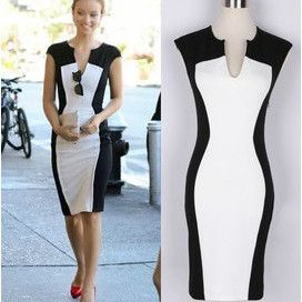 Fantasy 2013 Summer Vestidos Celebrity Supernova Black And White Patchwork Women Elastic Pencil Cotton Casual Dress S-XL lyq60 do Costo es de seisientos pesos