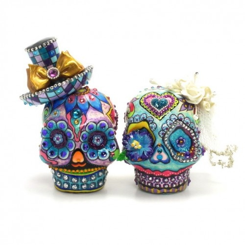 Dia De Los Muerto Skull Cake Topper Purple Turquoise Handmade