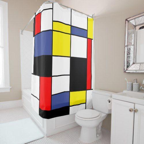 Mondrian, minimalist shower curtain