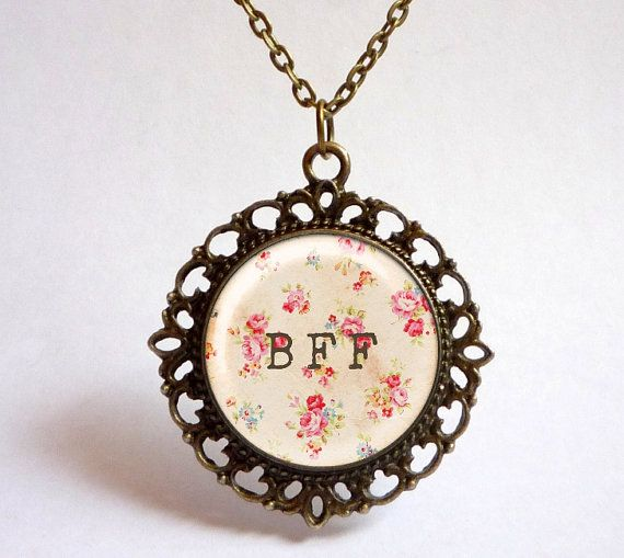 Floral Best FRIEND forever pendant. Shabby chic by OldeOwlPendants