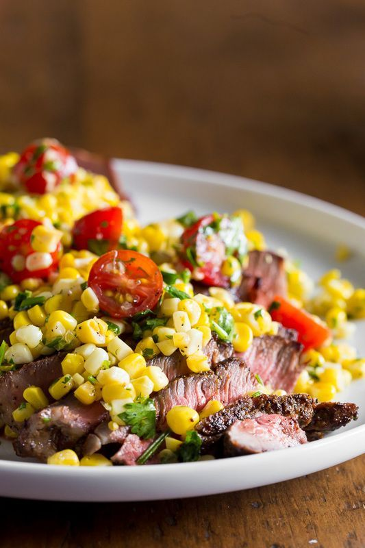 Grilled London broil with corn salsa captures the flavor of summer. Ready in just 20 minutes! /nutmegnanny/