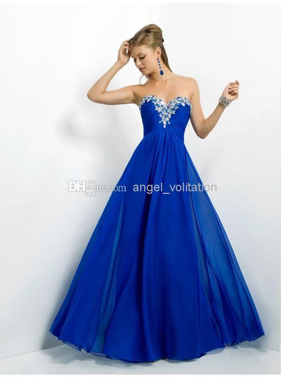 New Arrival Elegant Sweetheart Crystal Neckline Chiffon Floor Length Prom Dress Evening Dresses EV10, $78.54 | DHgate.com