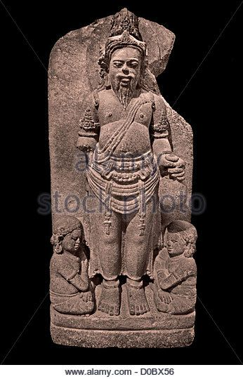 Agastya 9th-10th Century Hindu Sage Supreme Lord Siwa Mahadewa or Shiva Guru with a beard and mustache Java Indonesia - Stock Image