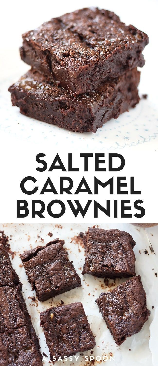 Chewy Fudgy Salted Caramel Brownies. Super fudgy, rich and delicious dark chocolate brownies swirled with homemade salted caramel sauce! via /asassyspoon/