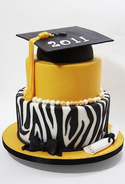 zebra graduation cake idea - burgundy instead of gold
