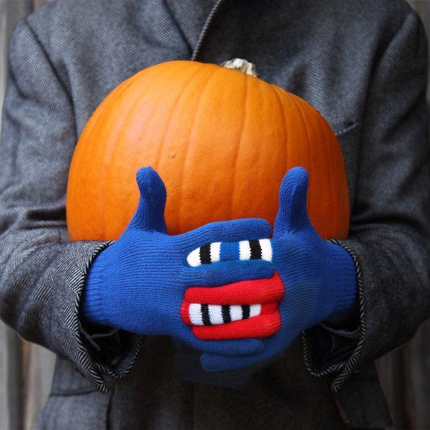 via en.dawanda.com Gloves – Blue Monster Pattern Gloves – a unique product by warmsters on DaWanda