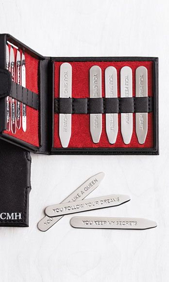 """Skip the ol' love note; instead slip a flirty hidden message in his shirt before work. You can personalize this set of 12 collar stays with engraved phrases you come up with yourself. Try a mix of sweet (""""You make me feel like home."""") and saucy (""""I want you…in me."""").Hidden Message Collar Stays, $59.95, RedEnvelope.com RedEnvelope.com -Cosmopolitan.com"""