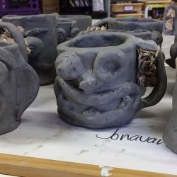 Funny Face Mugs Clay Project- slab construction & hand-building techniques - Create Art with ME