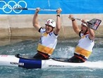 David Florence and Richard Hounslow of Great Britain celebrate winning silver