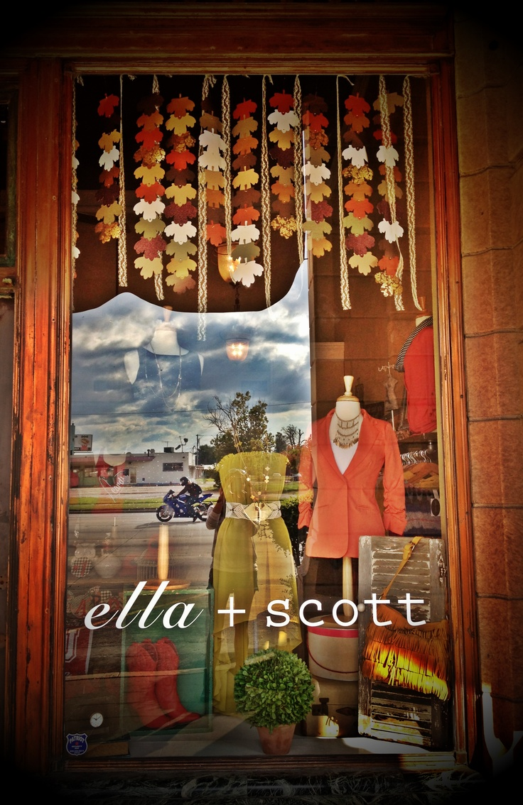 Fall window display! alternate leaf cut-outs and ribbon
