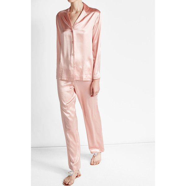 Silk Pajama Set La Perla ❤ liked on Polyvore featuring intimates, sleepwear, pajamas, silk sleepwear, silk pajama sets, pink silk pajamas, silk loungewear and silk pyjamas