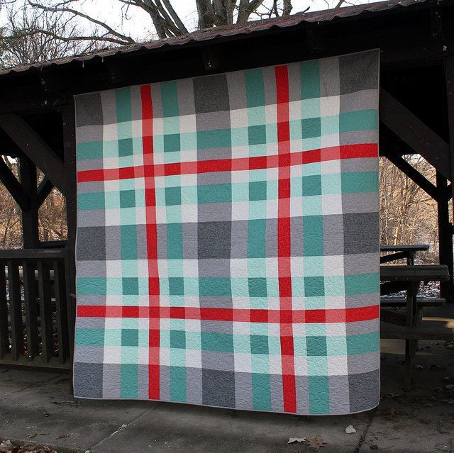"""Beautifully translucent """"Tartan"""" quilt by Barbara Cain of Modern Quilting by B."""