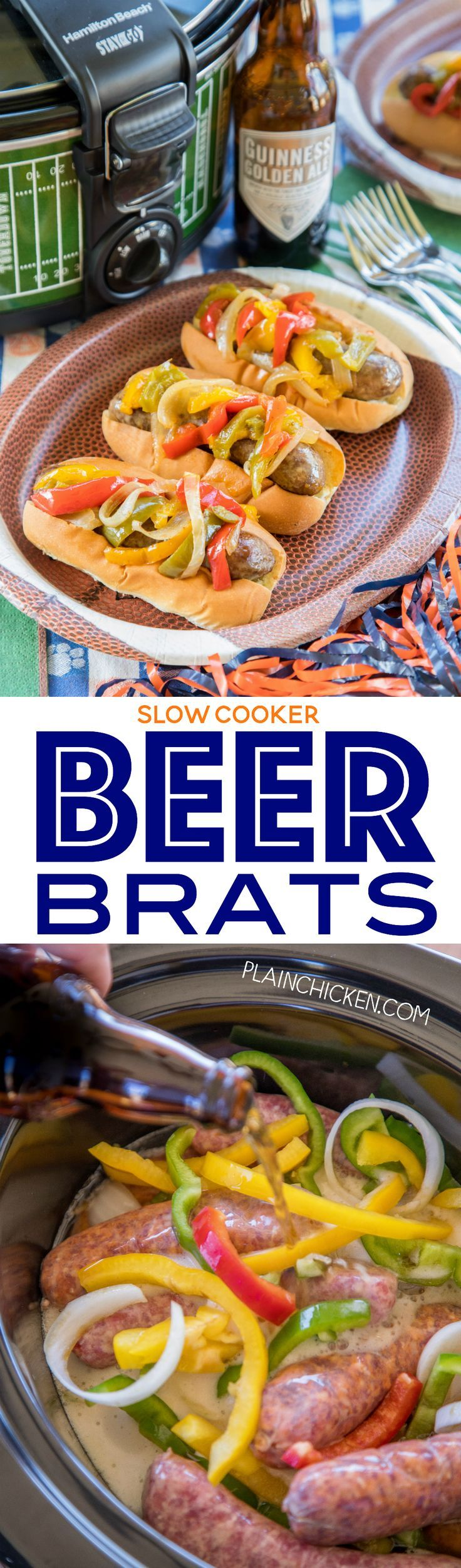 Slow Cooker Beer Brats - perfect tailgating food! Just toss everything in the slow cooker and let it work its magic. Can serve out of the slow cooker too! SO easy and the brats taste amazing!! Brats, beer, onion, bell peppers, salt, pepper, Worcestershire