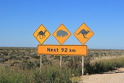 Road signs in the Nullarbor, Australia