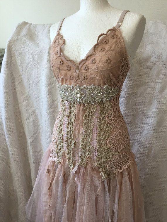Boho wedding dress rosebridal gown rosebeach by RAWRAGSbyPK