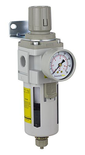 "PneumaticPlus SAW4000M-N04BG Compressed Air Filter Regulator Combo Piggyback Style 1/2"" NPT - Manual Drain, Poly Bowl, 10 Micron with Gauge - PneumaticPlus Filter-Regulators, or ""Piggybacks"" combine the functions of both filter and regulator. Piggybacks are compact and most effective when space is constrained. Different Bowl and Drain Options are available. Available with Metal Bowl and/or Auto Drain. Please search PneumaticPlus SAW400..."