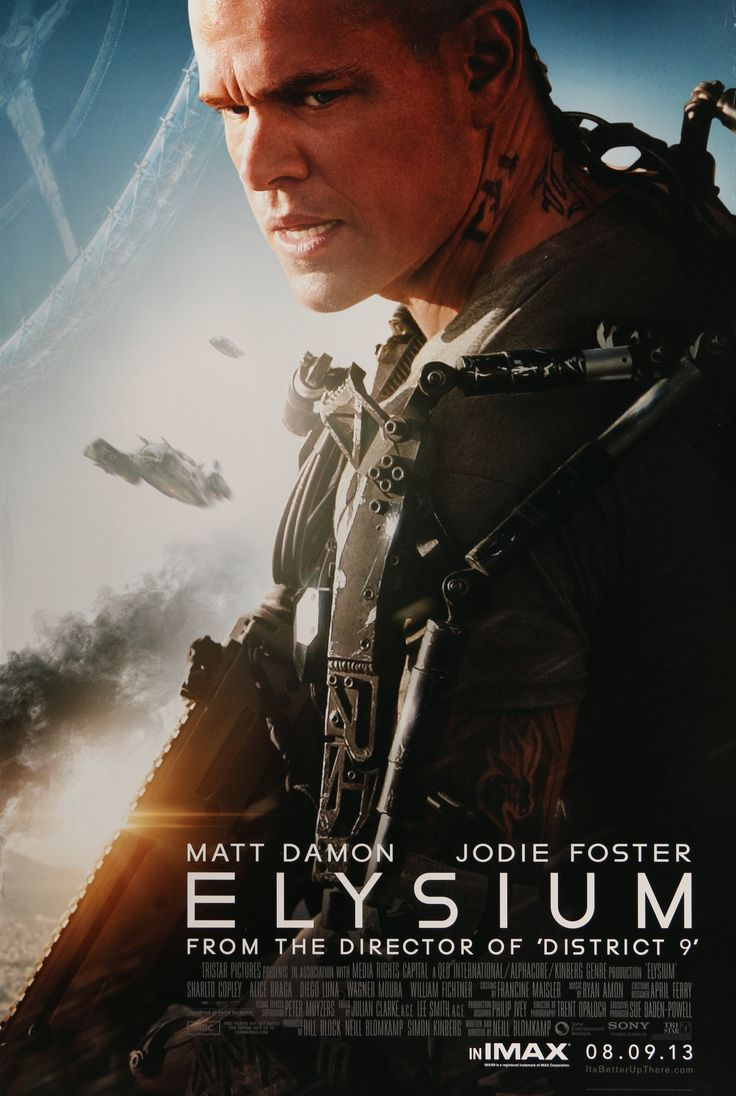 """Film: Elysium (2013) Year poster printed: 2013 Country: US Size: 27""""x 40"""" This is a vintage advance, one-sheet movie poster from 2013 for Elysium starring Matt Damon, Jodie Foster, Sharlto Copley, Ali"""