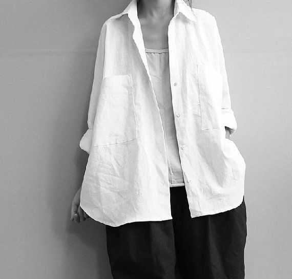 loose white and black linen blouse shirt long sleeve by Aolo, $68.00