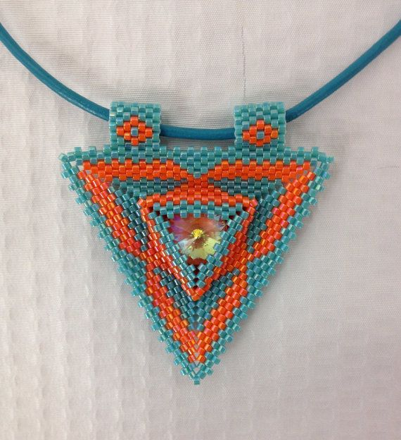 Triangle pendant on turquoise leather cord by BeadSplashHCJ, $35.00