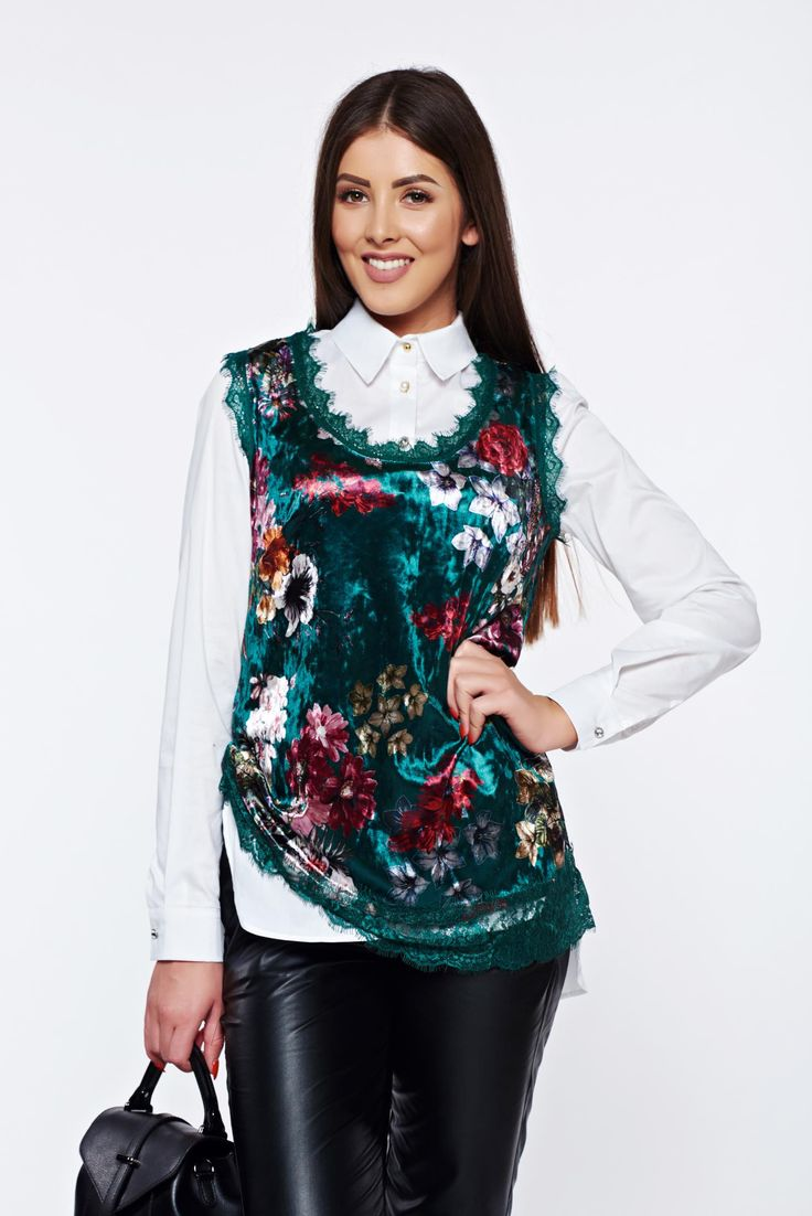 Green casual velvet top shirt lace details, women`s top shirt, floral prints, easy cut, has fringes, lace details, elastic fabric, velvet