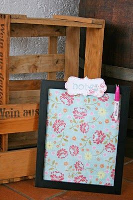 Cute DIY whiteboard from a picture frame (use the glass) and scrapbook paper