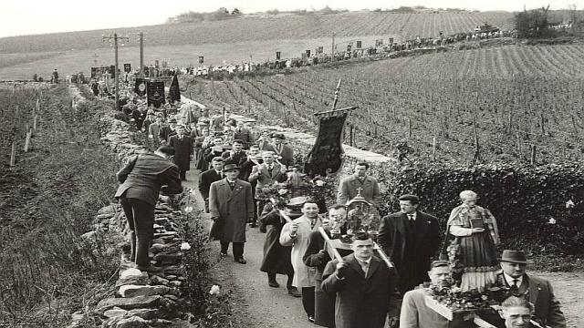 La procession de la Saint-Vincent Tournante à Mercurey, en Saône-et-Loire, en 1962 © Confrérie des Chevaliers du Tastevin
