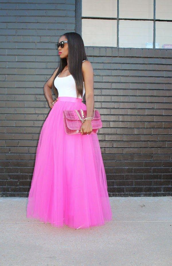 Beautiful pink tulle maxi #streetstyle