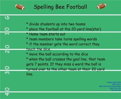 A fun game to review spelling words. Could also be used to review other material.