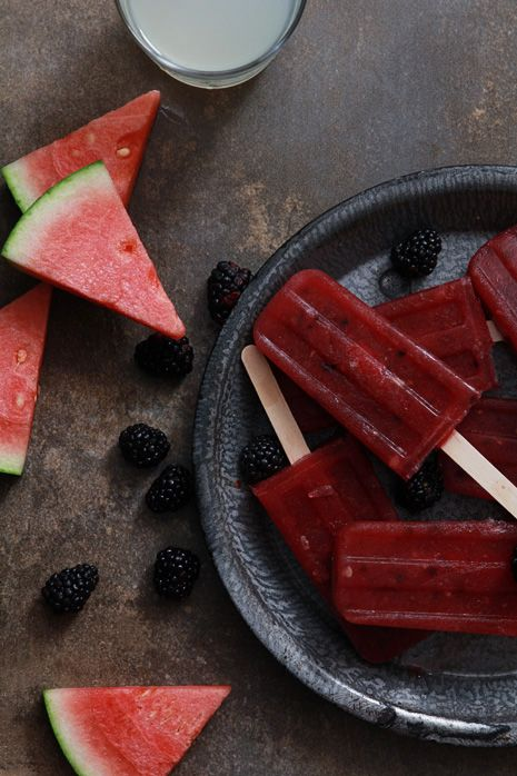 Watermelon Blackberry Margarita Popsicles.