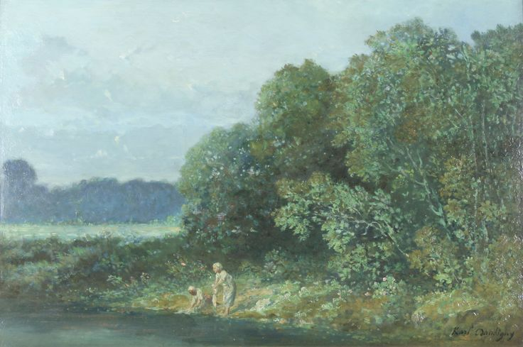 """Lot 528, Karl Pierre Daubigny, oil painting on board, a Continental river scene with washer women beside a river, signed, 15 3/4"""" x 24"""", est  £1500-2500"""