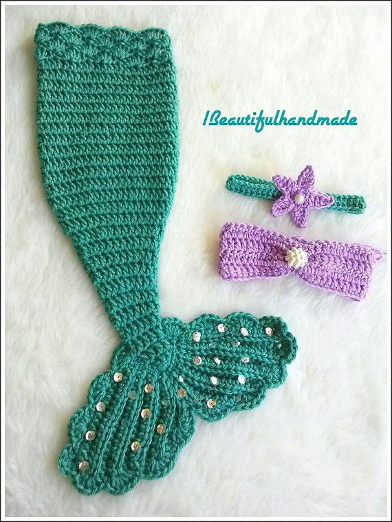 Newborn  Girls Mermaid Tail Photography Prop SET, disney princess little mermaid, Newborn Photo Prop
