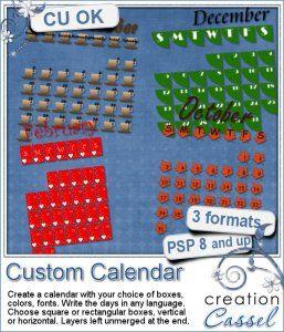 Custom Calendar - PSP script - Create your own custom calendar for any month.