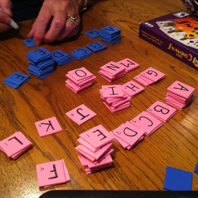homemade scrabble, we just cut up foam sheets! going to use it as a word work choice during daily five!