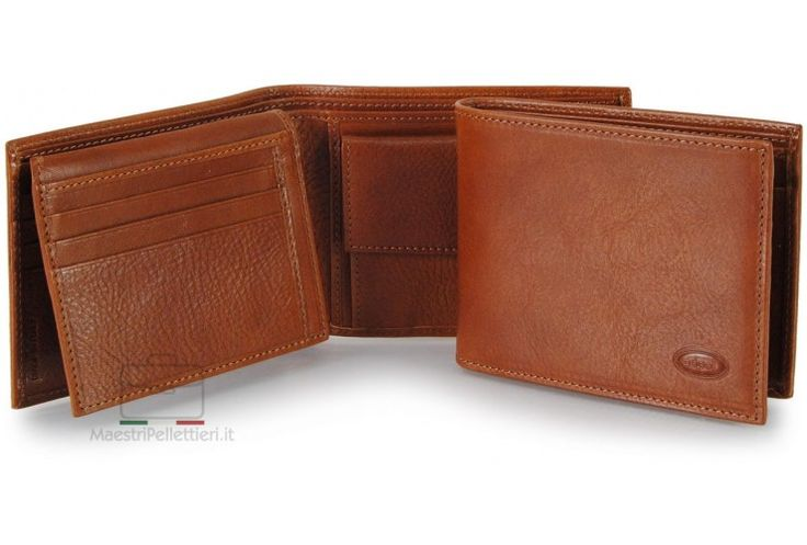 Men leather bifold wallet, coin 7 cards ID docs flap - Italian vegetable leather Adpel