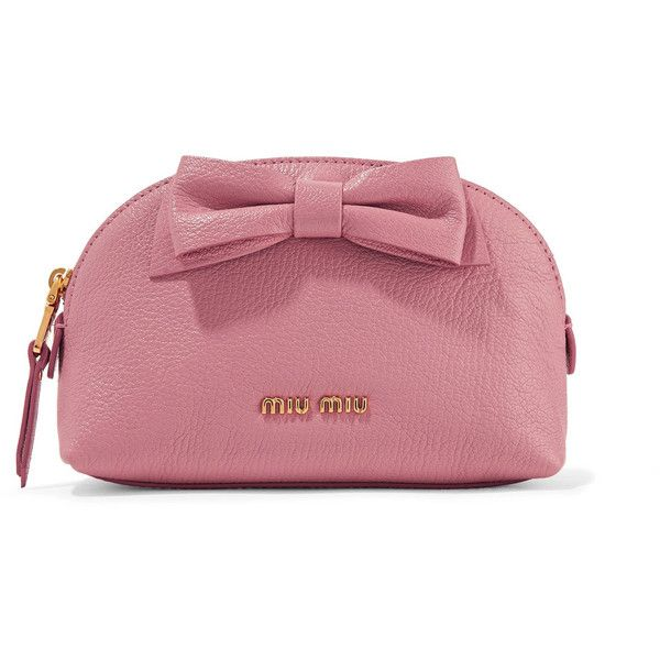 Miu Miu Bow-embellished textured-leather cosmetics case (445 CAD) ❤ liked on Polyvore featuring beauty products, beauty accessories, bags & cases, bow, case, cosmetics, embellished, leather, antique rose and makeup purse