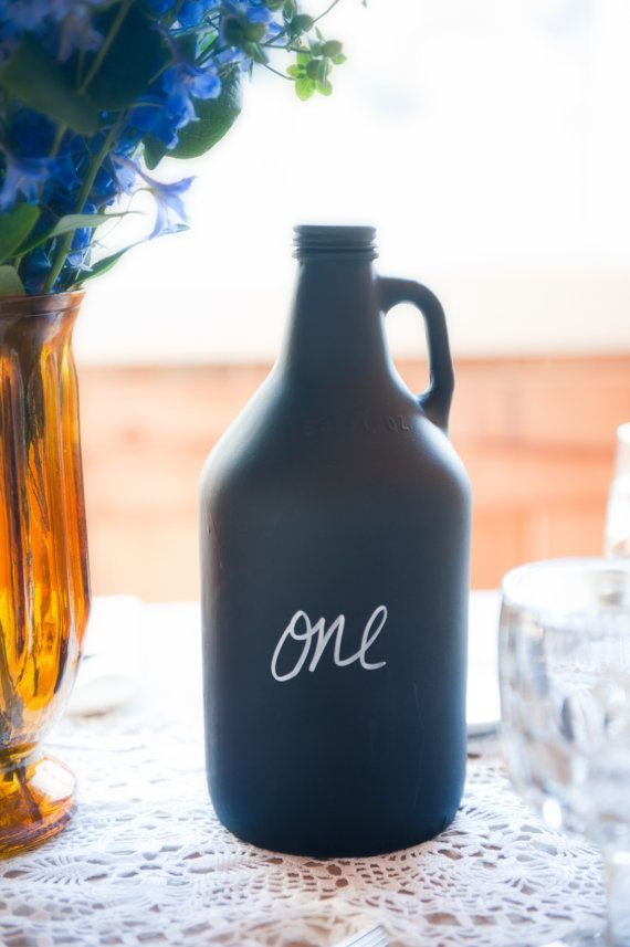 LOVE -Chalkboard Table Number Bottles or Centerpieces - Beer BOMBER or WINE bottle Size Made To Order