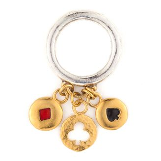 Cabaret Ring by Sophie Harley London. Jumble charm ring with 2 enamel buttons & 1 small token charm in silver with gold plated detail.