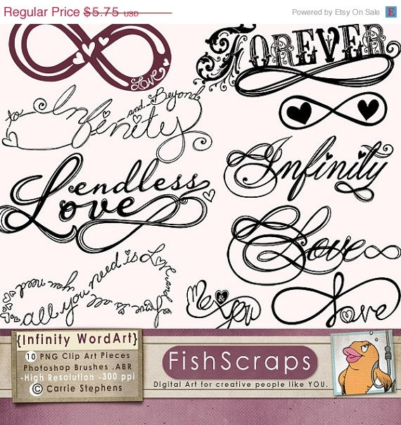 SALE - 40% Infinity Clip Art - Photoshop Brush - Digital Stamps - Word Art Graphics - DIY Wedding Invitations - Hand Embroidery Patterns