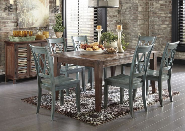 Lindys Furniture Mestler Dark Brown Rectangular Dining Table W 6 Antique Blue Side Chairs Server Room For All Of Your Guests