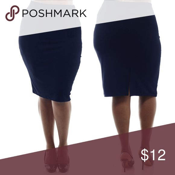 NAVY BLUE plus size stretch textured pencil skirt CLEARANCE SALE! NWT Navy blue plus size pencil skirt made of stretchy textured fabric. Features elastic waistband for a comfortable fit. 1X: 10-12W 2X: 14-16W  95% Polyester, 5% Spandex Skirts Pencil