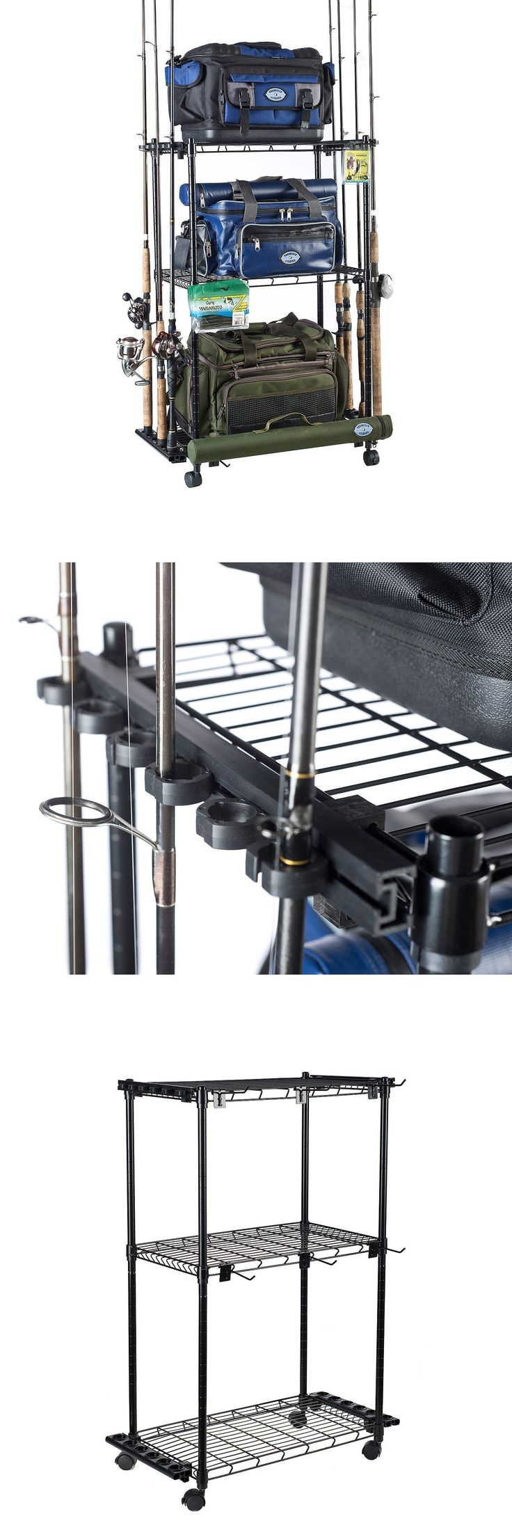 Rod Cases Tubes and Racks 81473: Fishing Rod And Reel Tackle Storage Organizer Trolley Adjustable 12 Rods Wheels -> BUY IT NOW ONLY: $74.95 on eBay!