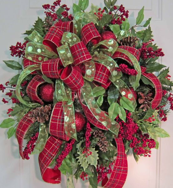 Outdoor Wreaths for Front Door | 20) Double Bow for Beautiful Christmas Door Wreaths