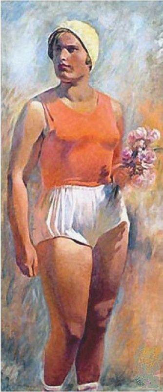 Alexander Nikolaevich Samokhvalov. Russian. 1894 - 1971.. Sportlerin with flowers, 1933. (sportswoman, female athlete)