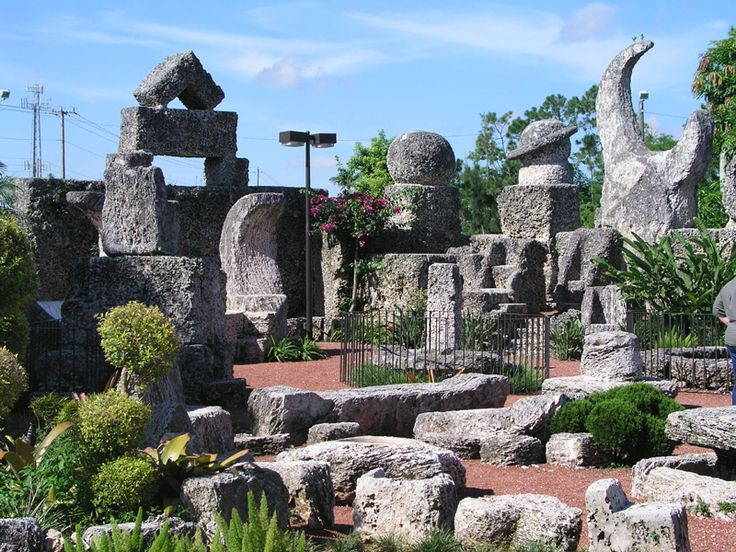Coral Castle, located in Homestead, Florida, was constructed entirely out of coral by Edward Leedskalnin after his fiancée left him the day before their wedding.